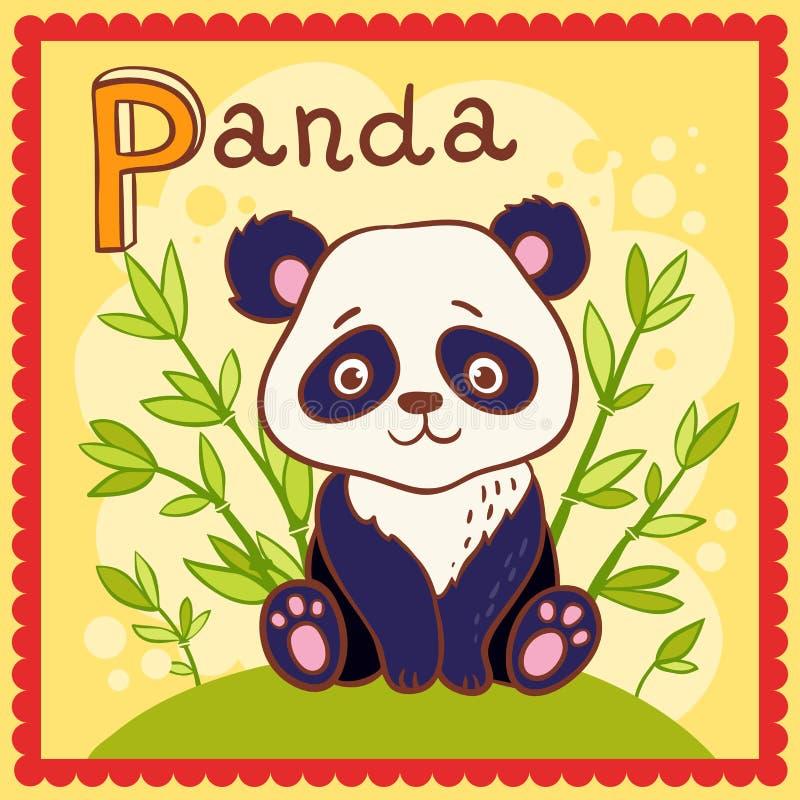 Проиллюстрированное письмо p алфавита и панда. иллюстрация штока