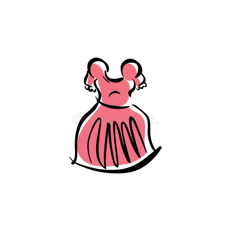 Проиллюстрированное розовое платье, рука нарисованная одежда вектора иллюстрация штока