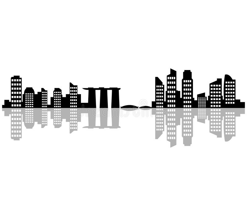 Проиллюстрированный горизонт Сингапура иллюстрация вектора