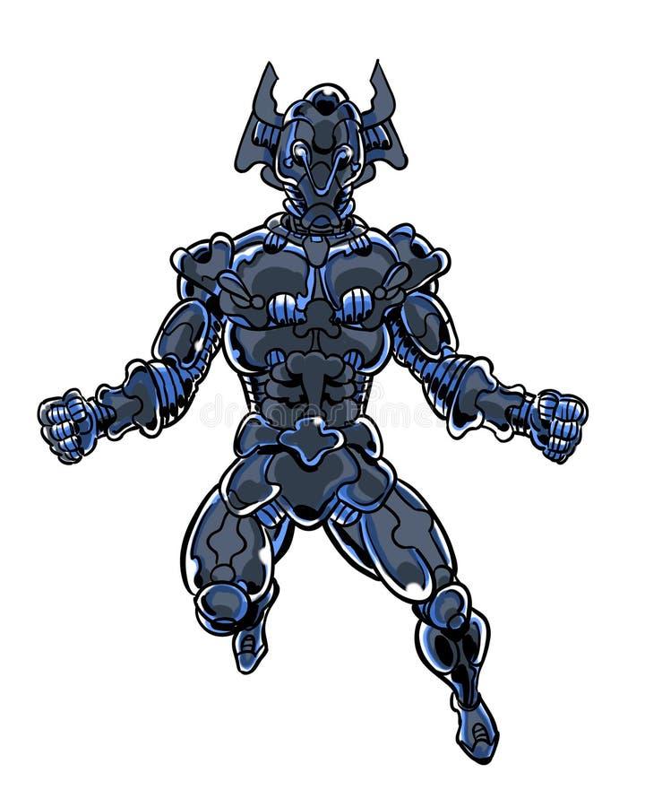 Проиллюстрированный комиком armored ратник чужеземца бесплатная иллюстрация