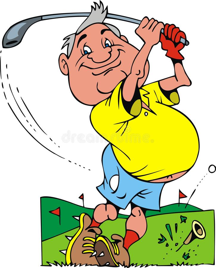 Старый игрок в гольф иллюстрация вектора