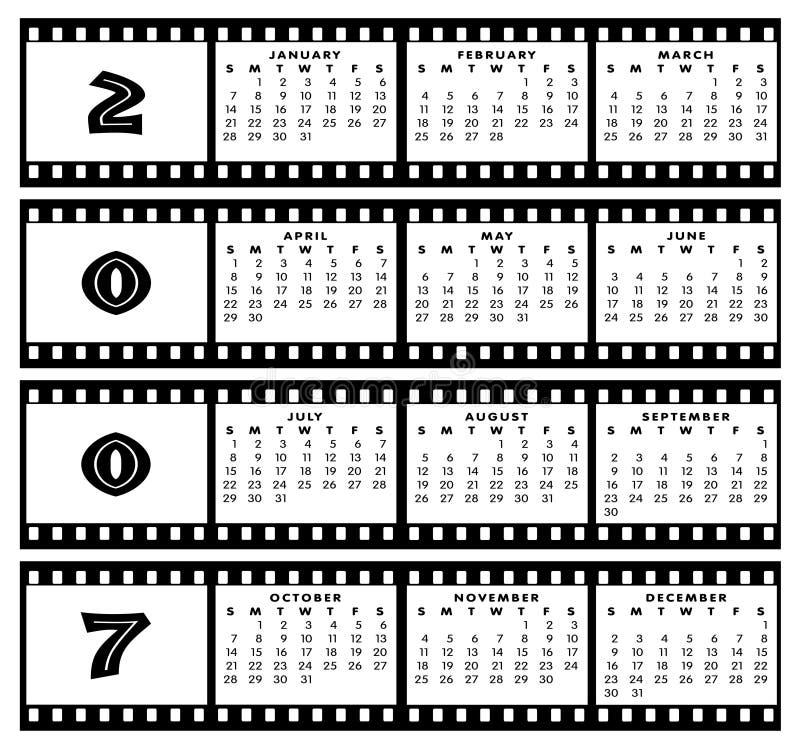 прокладка рамки пленки 2007 календаров иллюстрация вектора
