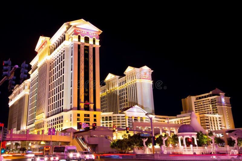 Прокладка Vegas на ноче стоковые фотографии rf