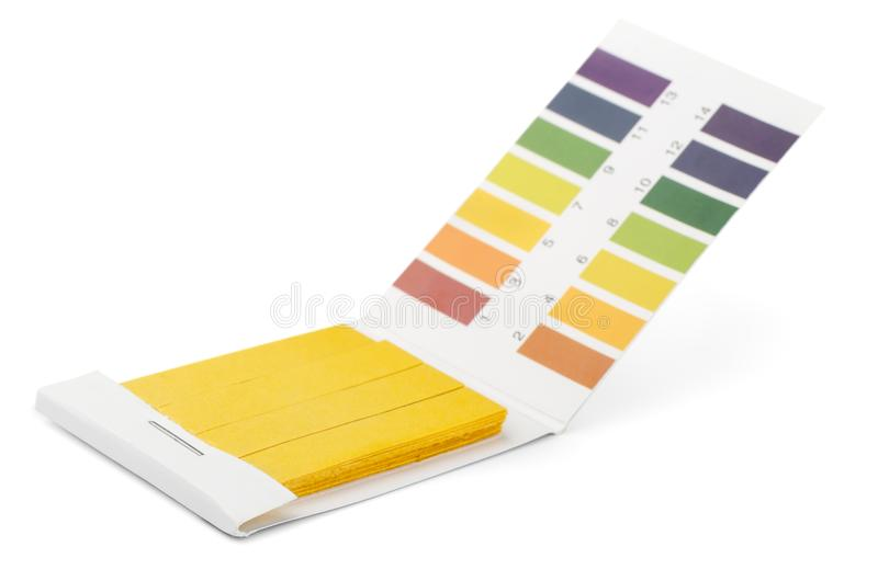 Прокладки испытания ПЭ-АШ лакмуса и образцы цвета стоковая фотография
