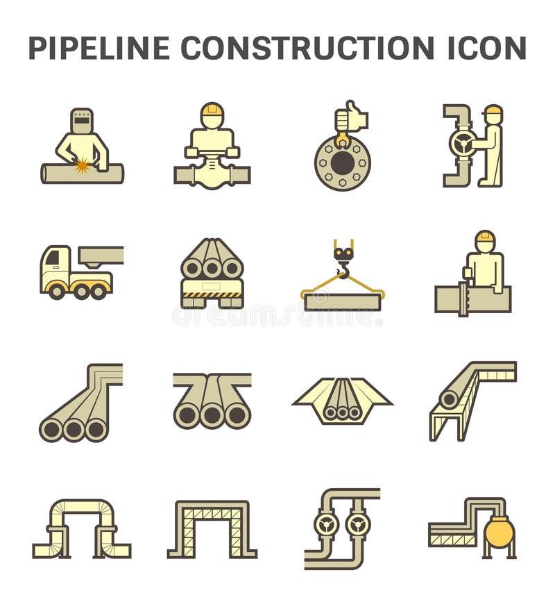 Прокладывайте трубопровод дизайн значка вектора строительной промышленности установленный изолированный на белой предпосылке иллюстрация вектора