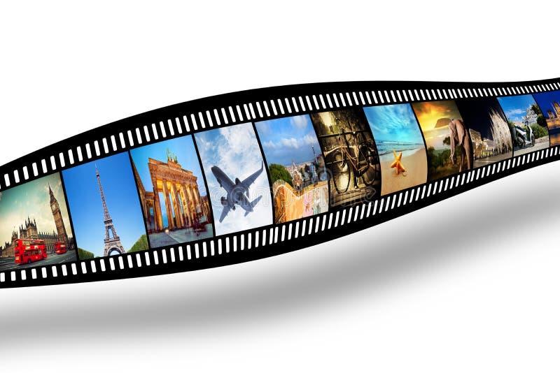 Прокладка фильма с красочными, живыми фотоснимками перемещение темы улицы palanga города литовское стоковые фотографии rf