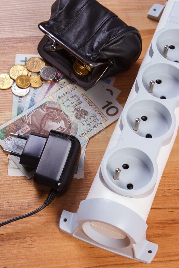 Прокладка электропитания с disconnected штепсельной вилкой и деньгами валюты заполированности, стоимостями энергии стоковые фотографии rf