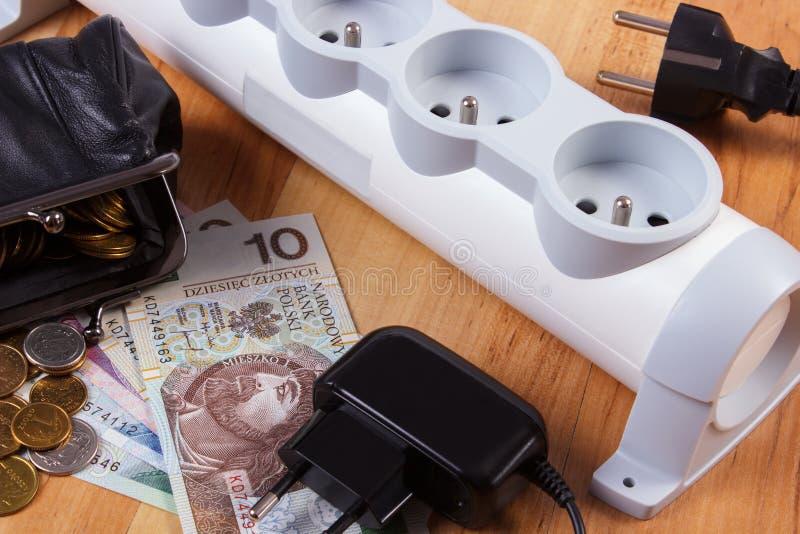 Прокладка электропитания с disconnected штепсельными вилками и польскими деньгами валюты, стоимостями энергии стоковые изображения rf