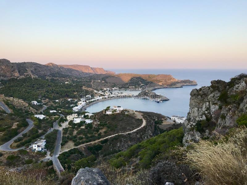 Промежуток времени деревни Kapsali в острове Kythira, Греции стоковое изображение rf