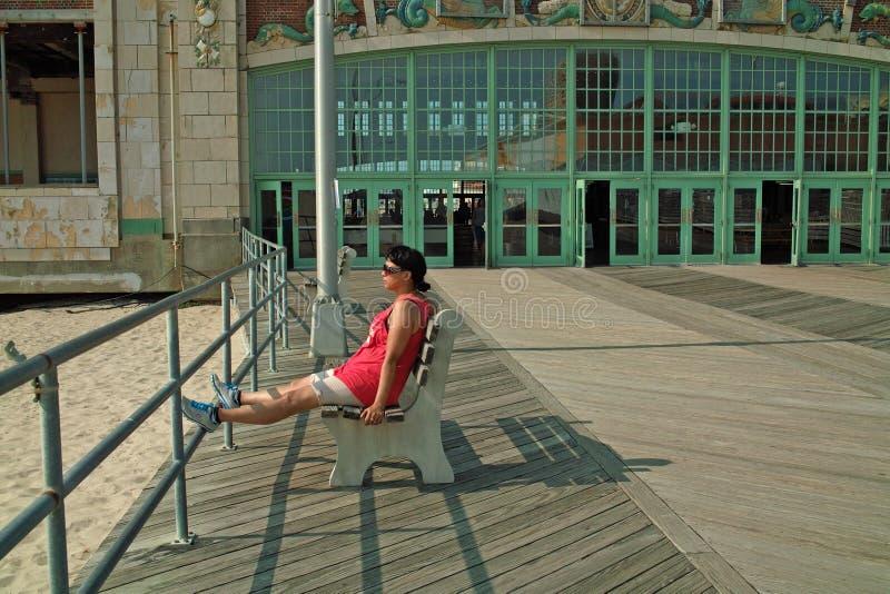 Променад пляжа парка Asbury, Нью-Джерси США стоковая фотография rf