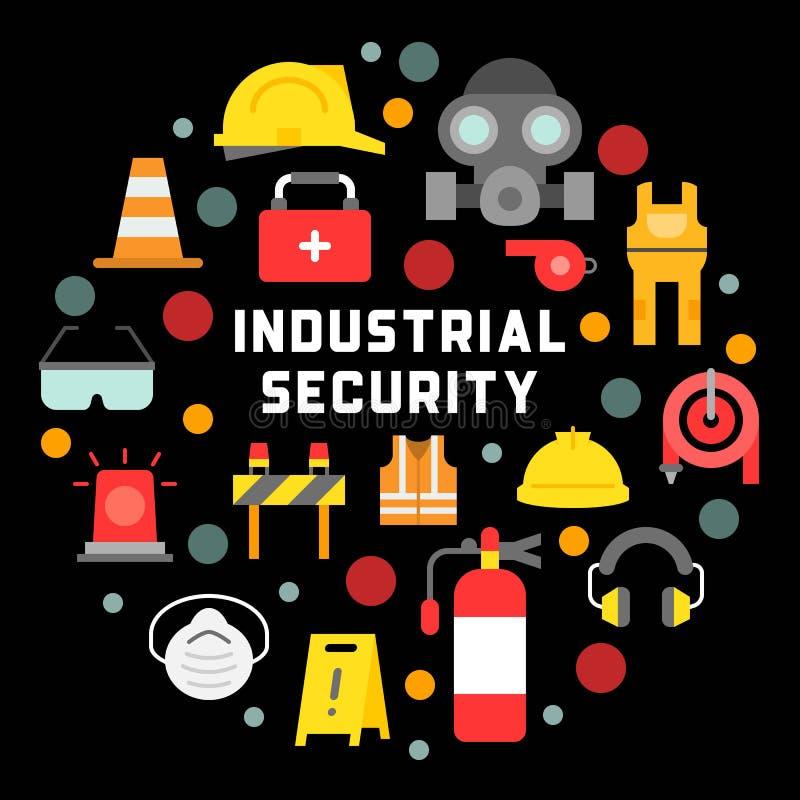 Промышленная безопасность и защитное оборудование для illustra работника иллюстрация штока