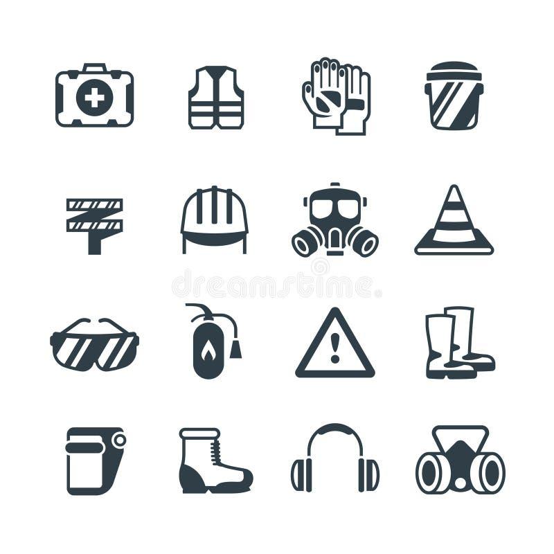 Промышленная безопасность, работа охраны труда и здравоохранение Изолированные значки вектора защитной одежды и equipmen бесплатная иллюстрация