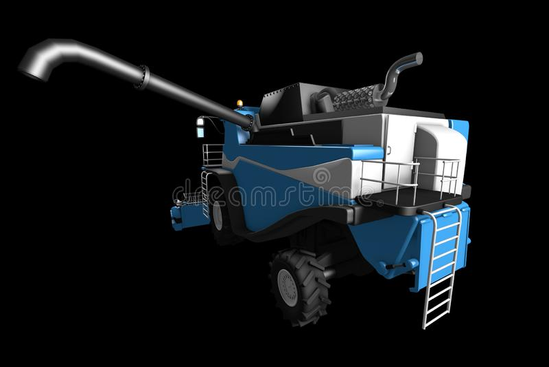 Промышленная иллюстрация 3D жатки комбайна огромной современной голубой фермы аграрной с видом сзади зерна разделенным трубой изо бесплатная иллюстрация