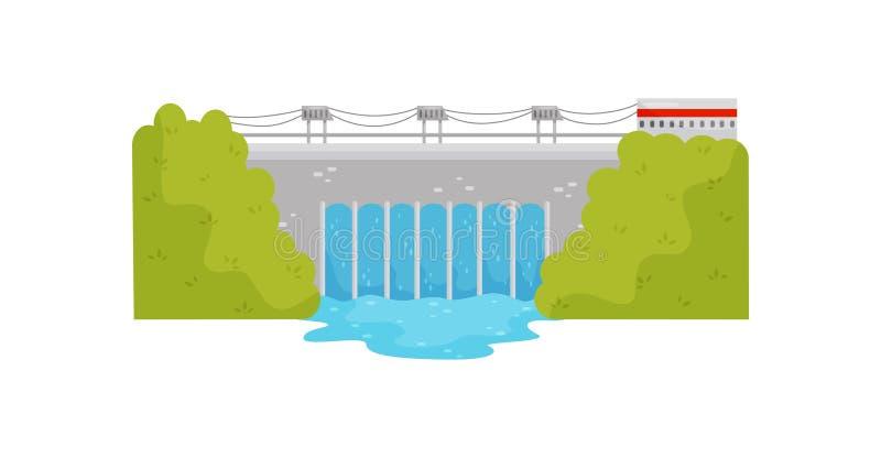 Промышленное здание ГЭС на реке дружественный к Эко источник власти Плоский дизайн вектора иллюстрация вектора