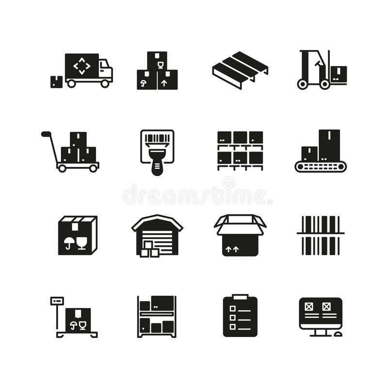 Промышленное управление склада, снабжения и распределения vector значки иллюстрация вектора