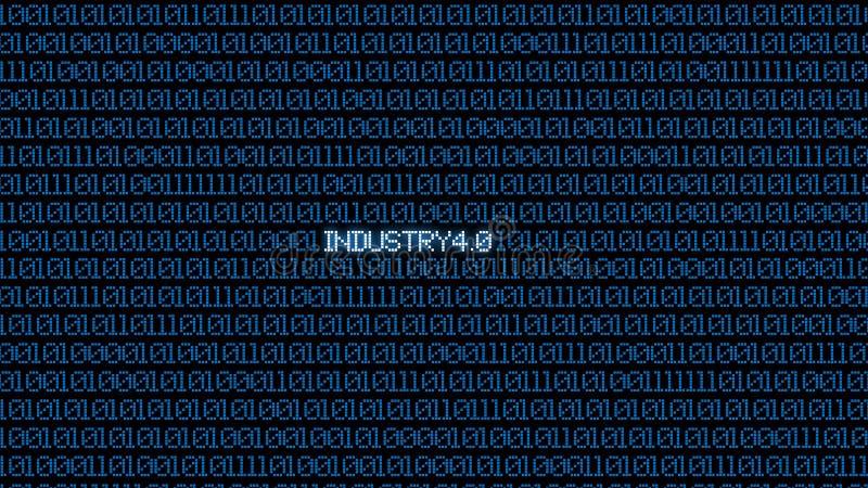 Промышленные 4 0 голубых цифровых bacgkground матрицы Абстрактные предпосылка и концепция технологии Умные сетевое подключение и  бесплатная иллюстрация