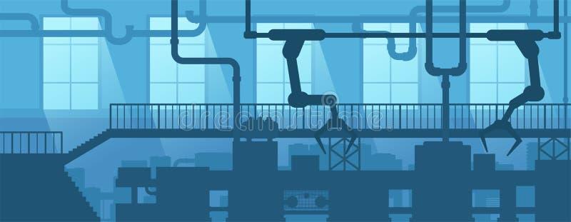Промышленный интерьер фабрики, завода Предприятие индустрии силуэта сцены дизайна иллюстрация вектора