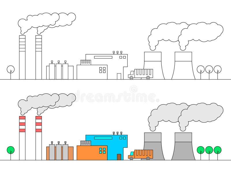 промышленный ландшафт Разные виды заводов 2 длинных трубы Ядерный реактор 2 Тонкая линия иллюстрация вектора стиля, isol бесплатная иллюстрация