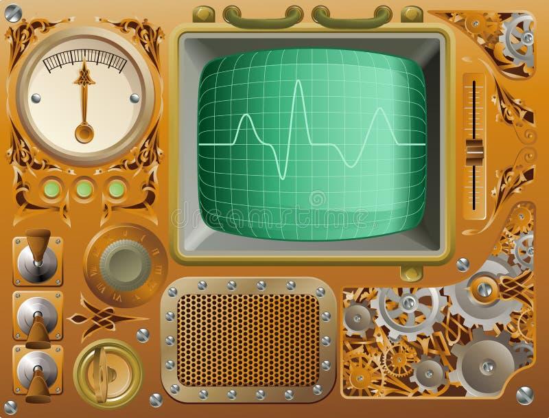 Промышленный медиа-проигрыватель Steampunk иллюстрация вектора