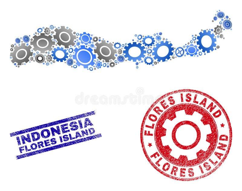 Промышленный остров Flores вектора коллажа печатей карты и Grunge Индонезии бесплатная иллюстрация