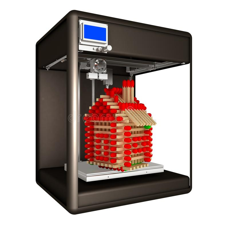 Промышленный принтер 3D печатает дом игрушки сделанный спичек бесплатная иллюстрация