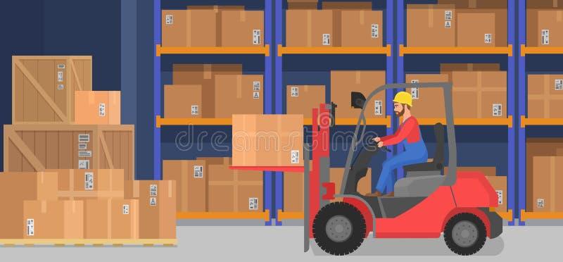 Промышленный современный интерьер склада с поставкой кладет товары полок и тележки в коробку паллета Хранение компании груза и иллюстрация штока