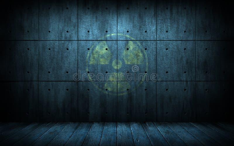 Промышленная предпосылка grunge с символом радиации стоковые изображения