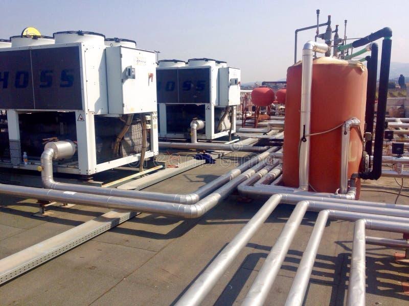 Промышленная система отопления термального завода стоковые фотографии rf