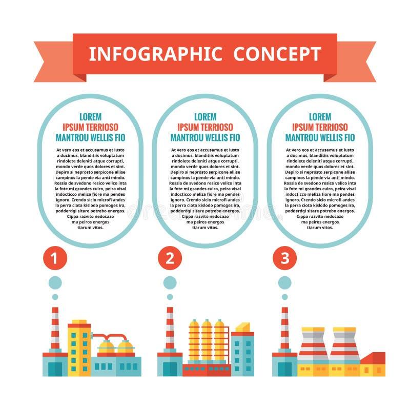 Промышленная фабрика - infographic концепция дела в плоском стиле дизайна