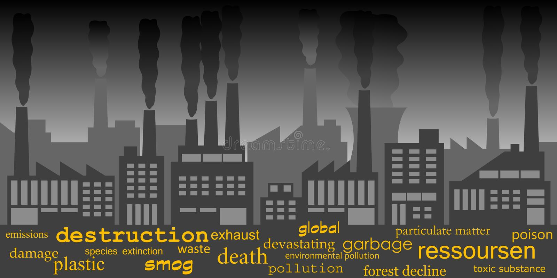 промышленное загрязнение иллюстрация штока