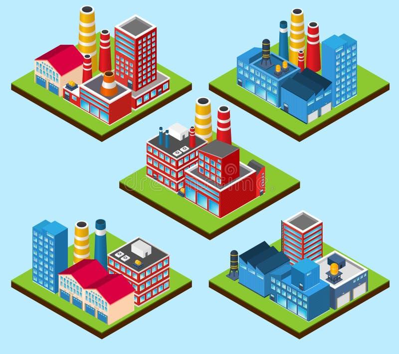 Промышленные здания равновеликие иллюстрация вектора