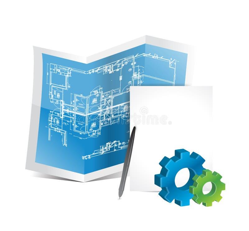 Промышленный дизайн иллюстрации светокопий шестерни иллюстрация вектора