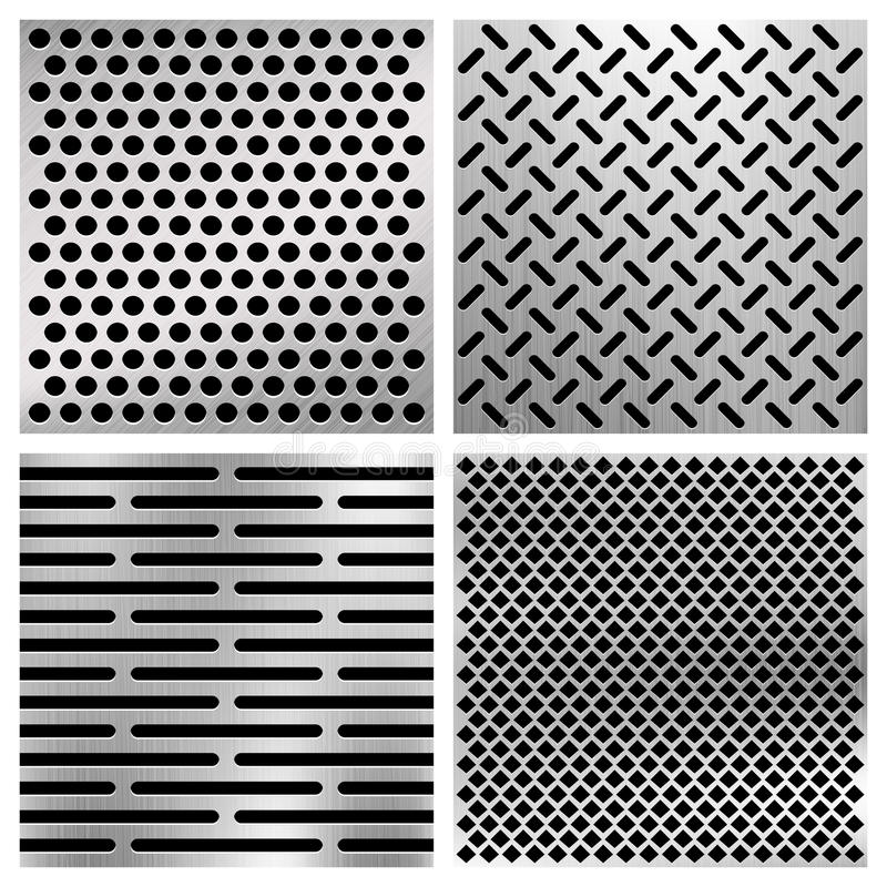 Промышленным пефорированные металлом текстуры вектора, металлические установленные решетки бесплатная иллюстрация