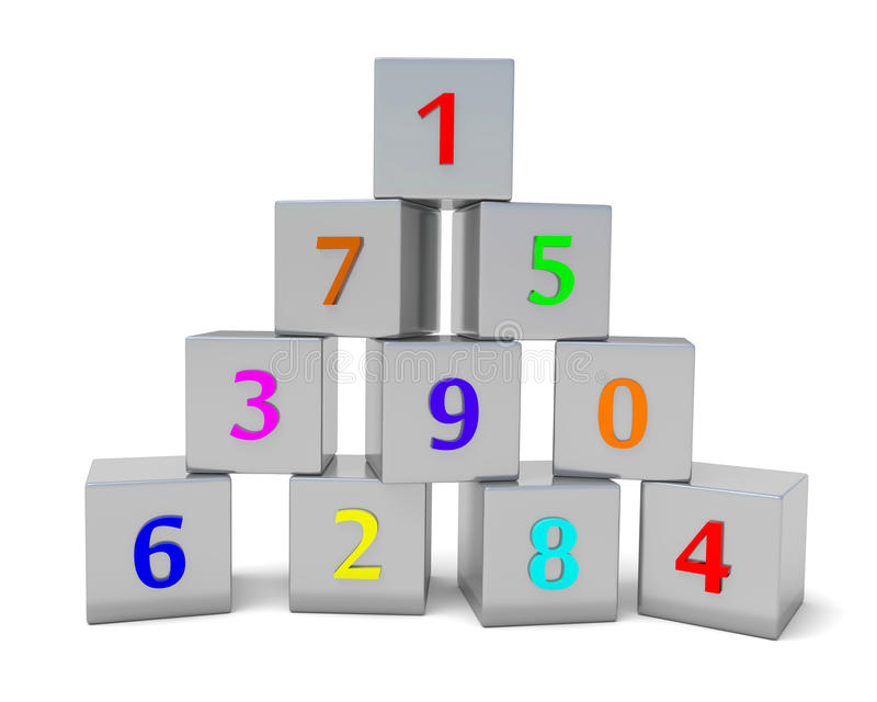 Пронумерованные кубики иллюстрация вектора