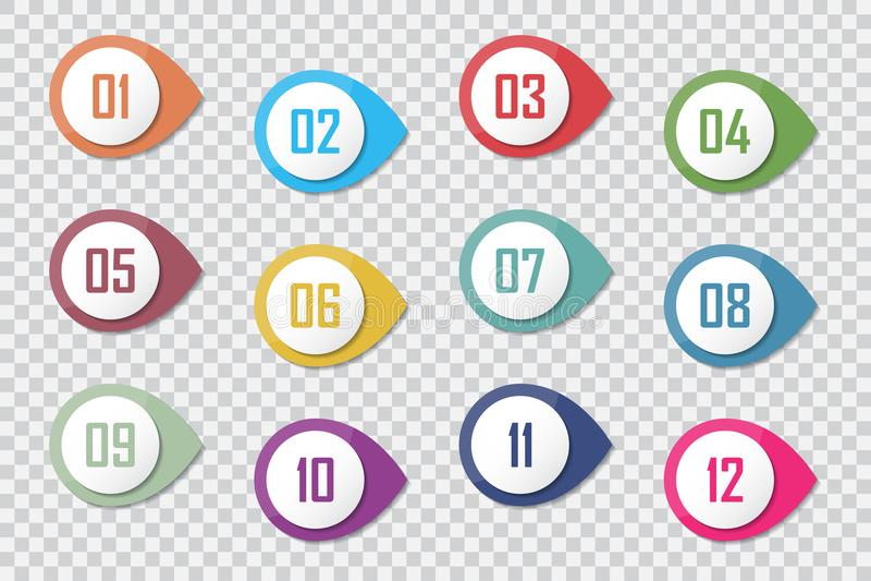 Пронумеруйте отметки 3d 1 до вектор 12 пункта маркированного списка красочные бесплатная иллюстрация