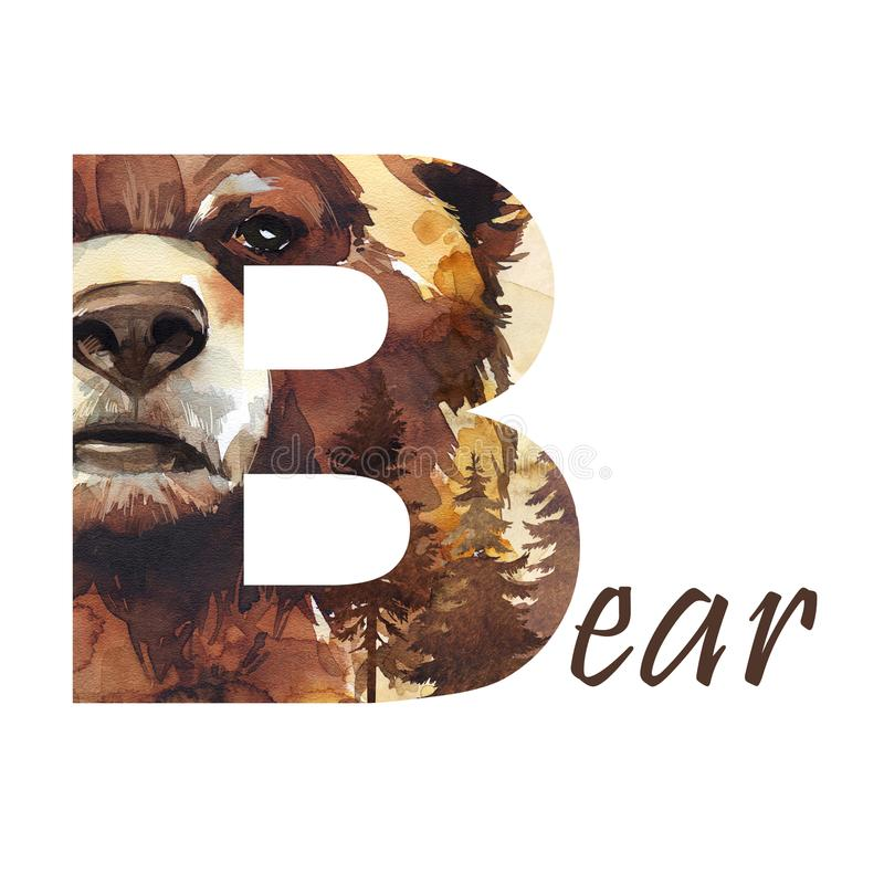 Прописная буква b медведя с деревьями, изолированной руки акварели нарисованной на белой предпосылке животное леса wildlife иллюстрация штока