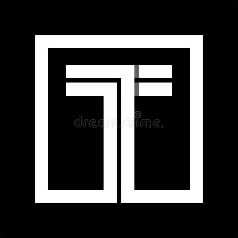 Прописная буква t от белой нашивки заключенной в квадрат Перекрывать с тенями иллюстрация вектора