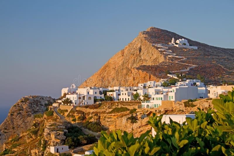 прописной остров folegandros стоковые изображения rf
