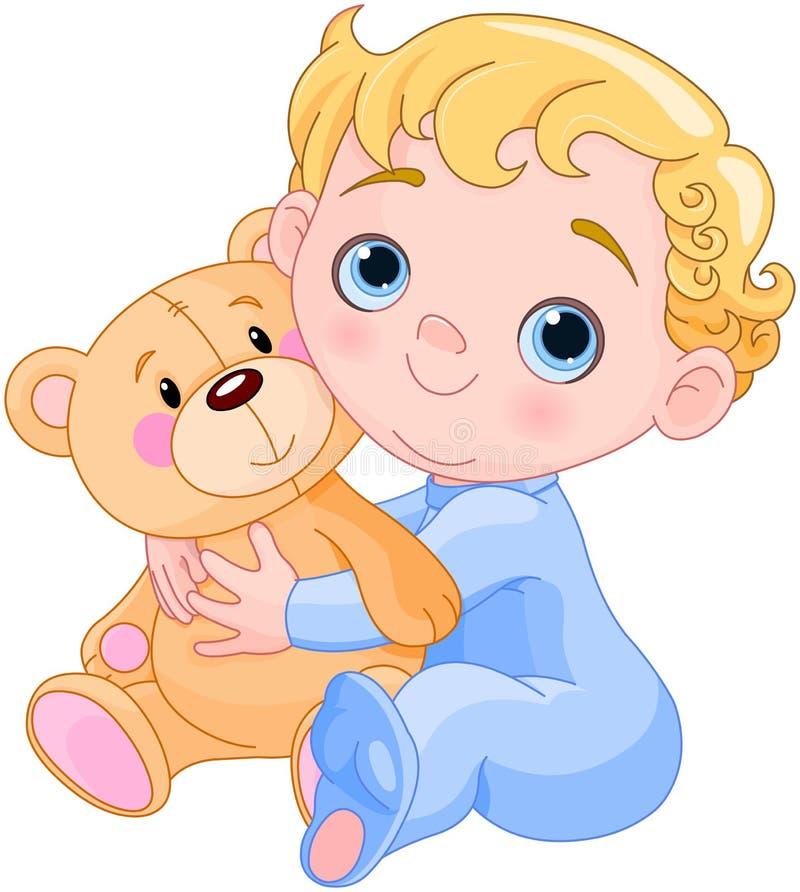 Проползая младенец & плюшевый медвежонок иллюстрация штока