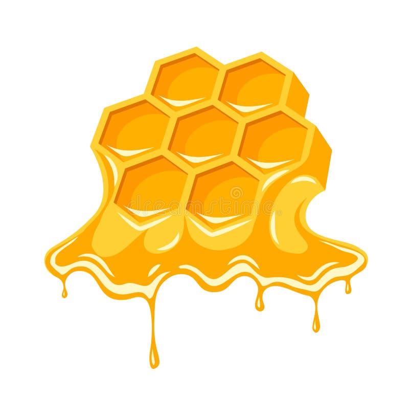 Пропускать меда сотов пчелы иллюстрация штока