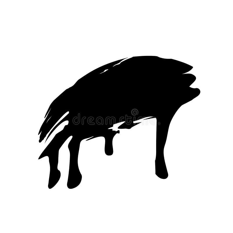 Пропуская и капая краска или жидкостный шаблон brushstroke Чернота для пользы в любом цвете и любом дизайне Ход щетки изолированн иллюстрация штока