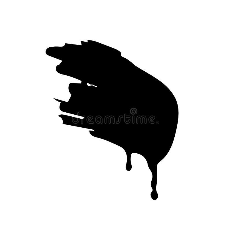Пропуская и капая краска или жидкостный шаблон brushstroke Чернота для пользы в любом цвете и любом дизайне Ход щетки изолированн иллюстрация вектора