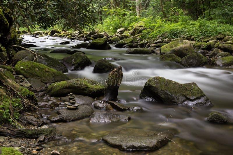 Пропуская поток в больших закоптелых горах стоковые фотографии rf