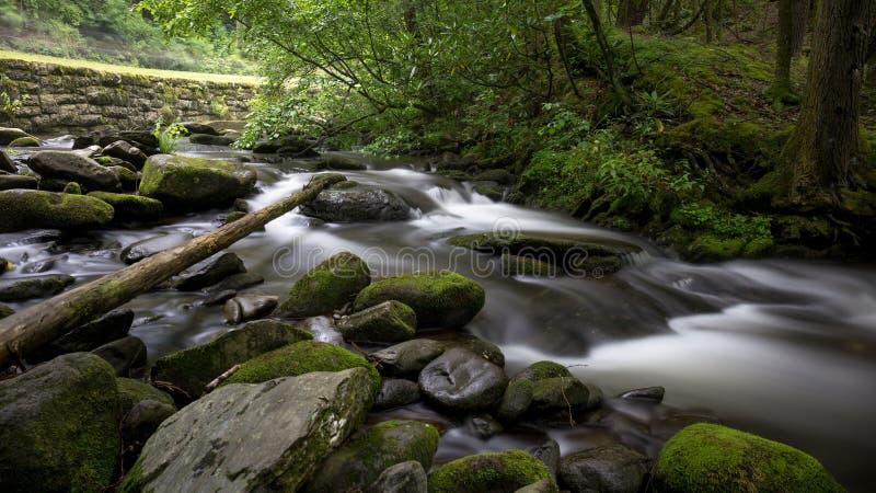 Пропуская поток в больших закоптелых горах стоковое фото rf