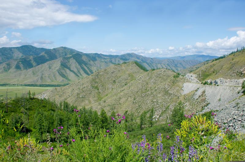 Пропуск в гору Altai красивый ландшафт стоковое фото
