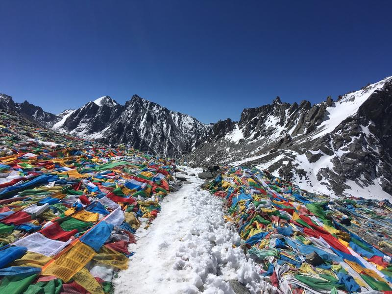 Пропуск Ла Dolma - Mount Kailash Kora весной в Тибете в Китае стоковое фото rf