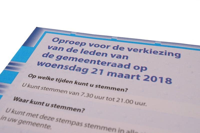 Пропуск официального голландца голосуя для 2018 избраний стоковое фото