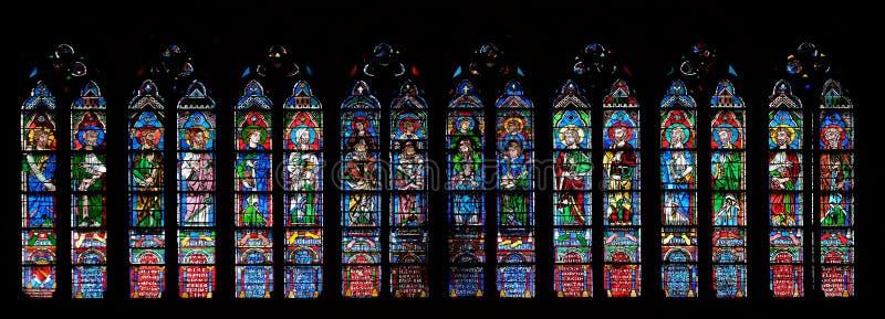 Пророки, витраж в соборе Нотр-Дам в Париже стоковая фотография rf