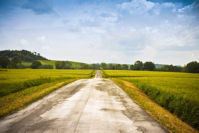 Проселочная дорога Tipical в сельской местности Тосканы вызвала белую дорогу - Италию стоковое фото