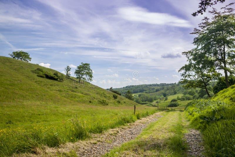 Проселочная дорога в красивом ландшафте стоковая фотография rf